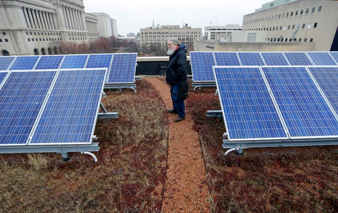 Gregory Bird looks at solar energy panels on the green roof at Milwaukee's Central Library in 2015.