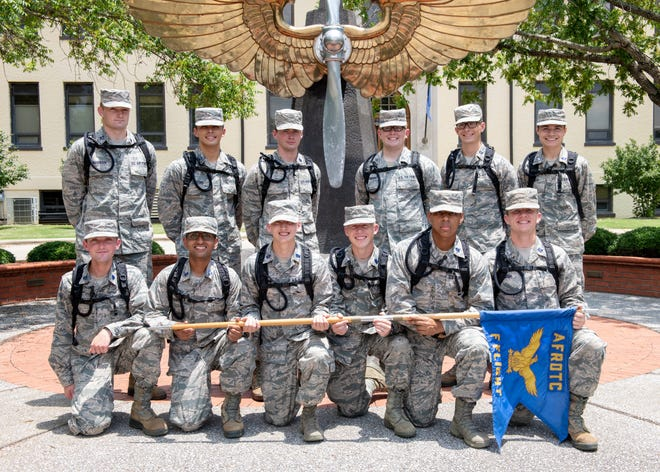 An Air Force Reserve Officer Training Corps flight poses for a photo following their graduation of field training, July 15, 2020, Maxwell Air Force Base, Alabama. Air Force ROTC cadets attend the two-week training here during the summer between their sophomore and junior years at college.