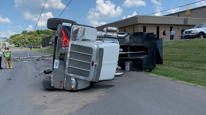A dump truck that rolled over on Monday, July 20, 2020, on Jones Road at Waldron Road is expected to keep the roadways closed for several hours.