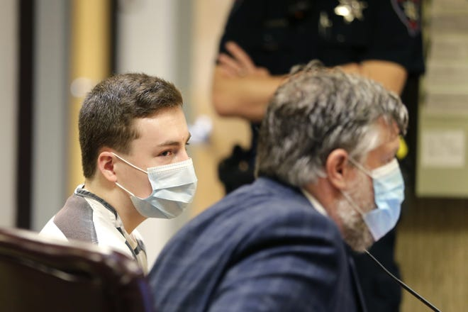 Grant A. Fuhrman, 17, left, watches as his defense attorney speaks during a court hearing Monday, July 20, 2020, at the Winnebago County Courthouse in Oshkosh. Fuhrman pleaded not guilty to attempted first-degree intentional homicide charge.
