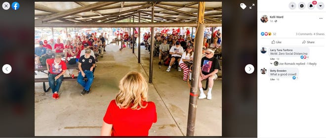 A screenshot from Arizona Republican Party Chair Kelli Ward's Facebook page shows a mostly maskless crowd at the Mohave County Republican Picnic on July 18, 2020.