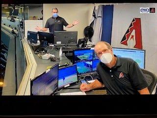 Bob Brenly (foreground) and Steve Berthiaume call the Arizona Diamondbacks game against the LA Dodgers on July 19, 2020.
