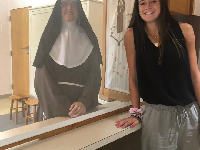 Maddy Siegrist, a Lourdes graduate, met Sister Rose Marie, formerly Shelly Pennefather, Villanova's most famous women's basketball player.