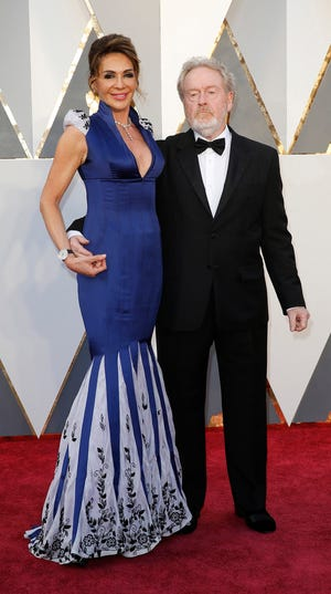 Ridley Scott and Giannina Facio arrive at the 88th Academy Awards on February 28, 2016, at the Dolby Theatre in Hollywood. (Jay L. Clendenin/Los Angeles Times/TNS)