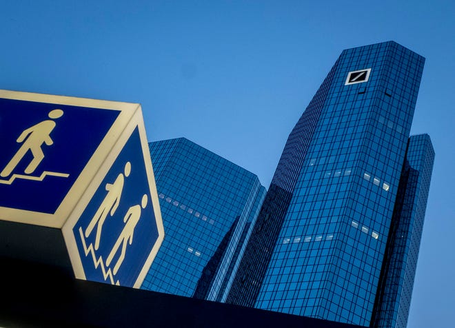 """The headquarters of Deutsche Bank is seen in Frankfurt, Germany, Monday, May 18, 2020. Federal Judge Esther Salas has presided over an ongoing lawsuit brought by Deutsche Bank investors who claim the company made false and misleading statements about its anti-money laundering policies and failed to monitor """"high-risk"""" customers including convicted sex offender Jeffrey Epstein."""