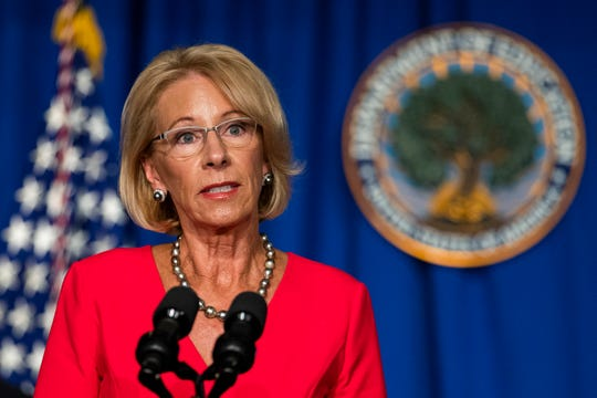 Education Secretary Betsy DeVos on July 8, 2020, in Washington, D.C.
