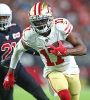 Wide receiver Emmanuel Sanders, shown here when he played for the San Francisco 49ers.