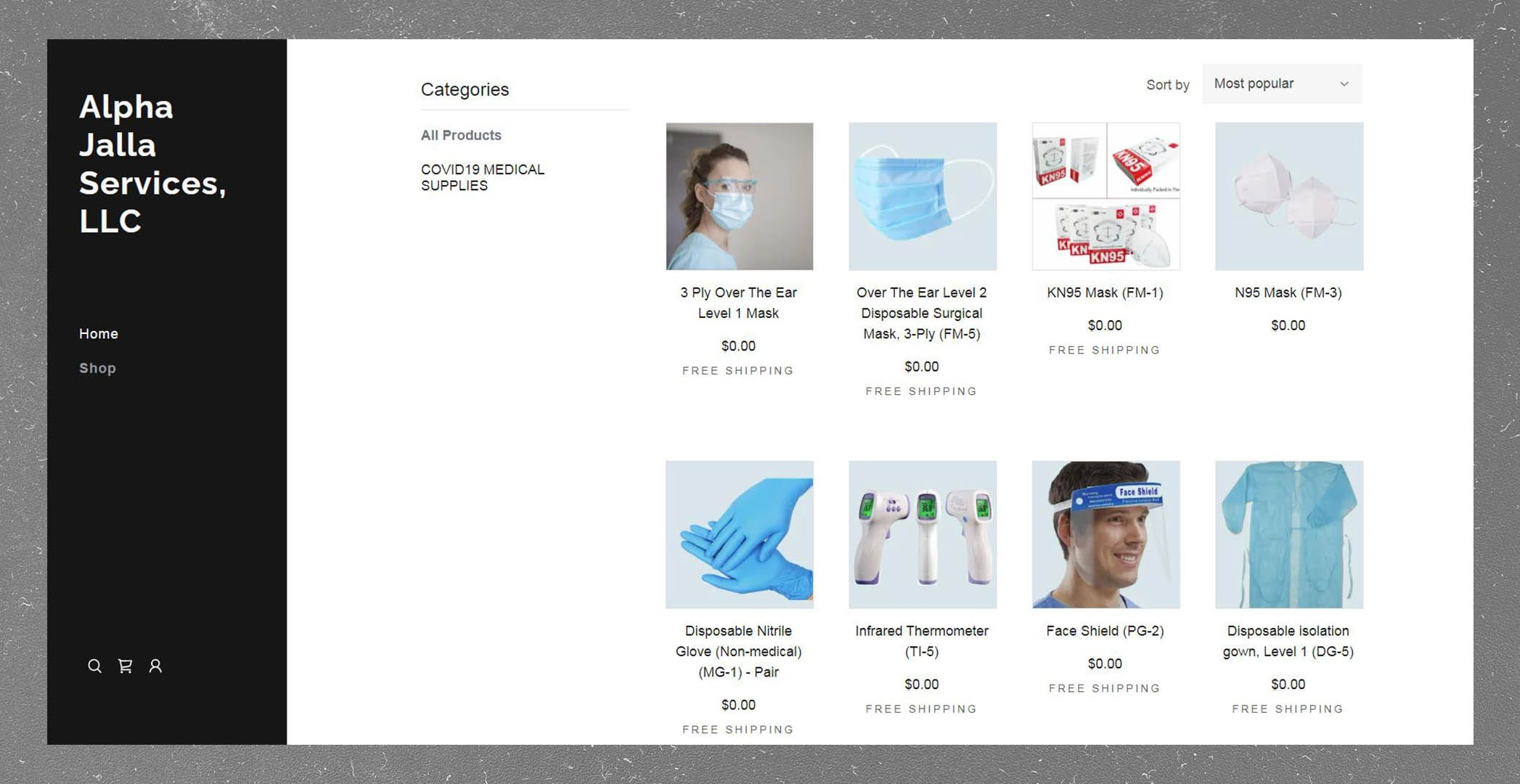 A screenshot of the website of Alpha Jalla Services LLC, which secured up to $1.2 million from the VA through six orders for surgical supplies and PPE.