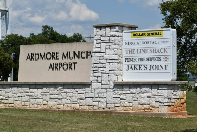 The welcome sign at Ardmore Municipal Airport shows some of the businesses at Ardmore Industrial Airpark. The Airpark will soon be getting a new wastewater treatment plant.