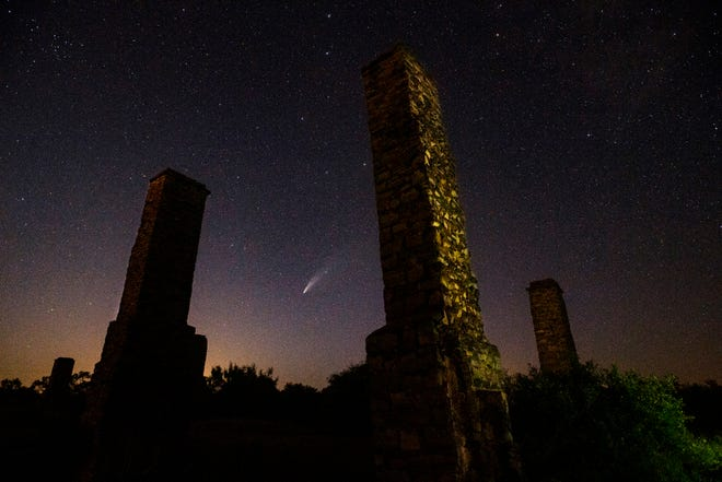 Comet NEOWISE Sunday, framed by the chimneys at Fort Phantom Hill north of Abilene.