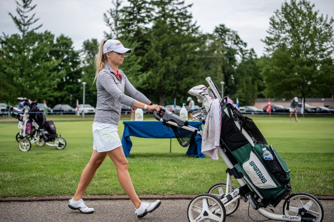 Golfer Sarah Burnham practices for the Symetra Tour's seventh annual FireKeepers Casino Hotel Championship on Tuesday, July 21, 2020 at Battle Creek Country Club in Battle Creek, Mich.