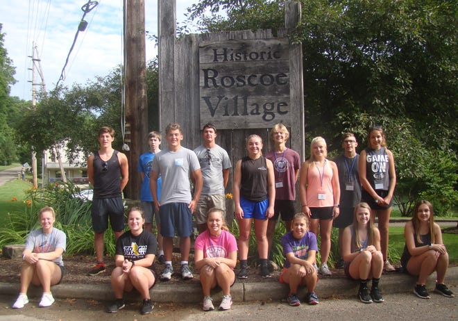 Members of the Coshocton County Youth Leadership Class of 2021 at the entrance of Historic Roscoe Village during their recent opening retreat. In the back row are Judah Nelson, Liam Stevens-Woolery, Cole Tatro, Coen Bible, Olivia Blust, Alec Laaper, Keely Murray, Benjamin Unkefer and Melany Wine. In the front row are Taura Dennis, Michaela White, Allie Mizer, Jillian Stamper, Britton McCoy and Katie Collins.
