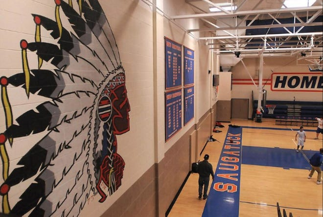 A mural of an American Indian in the gymnasium at Saugatuck High School, painted in the 1970s.