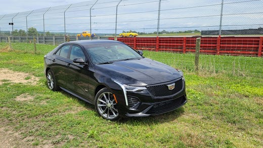 The 2020 Cadillac CT4-V is a new performance variant of the CT4 - which itself replaces the ATS sedan and debuts in the subcompact segment.