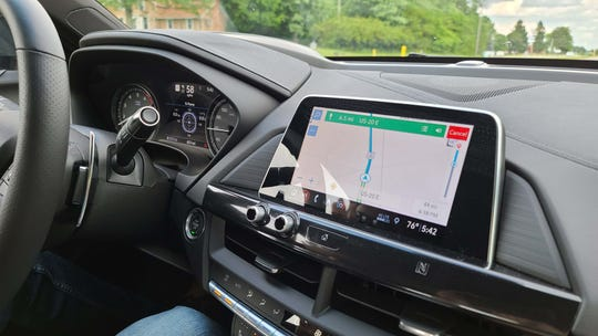 The 2020 Cadillac CT4-V nav system is ho-hum, but fortunately the excellent Android Auto Google maps is available for trips to, say, Mid-Ohio race course.