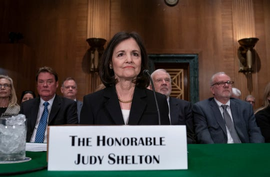 In this Feb. 13, 2020 file photo, President Donald Trump's nominee to the Federal Reserve, Judy Shelton, appears before the Senate Banking Committee for a confirmation hearing, on Capitol Hill in Washington.