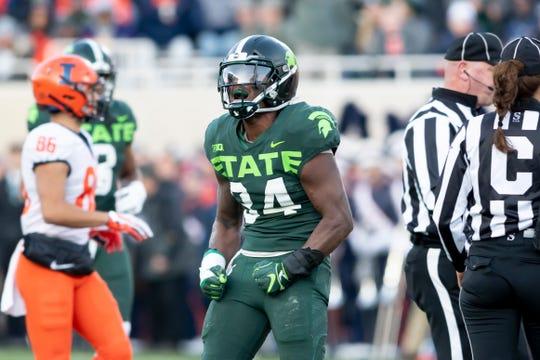 Michigan State linebacker Antjuan Simmons collected 15 tackles for loss last season.