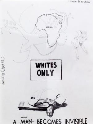 One of the sketchs by Brandon Drew Holmes done for PromptPress' forthcoming Afrofuturist collection.   The images includes a picture of slave trade routes out of Africa.