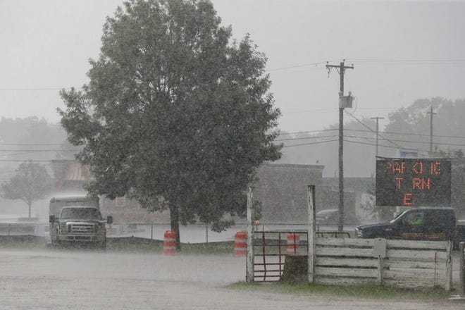 Rain starts to fall at the Tippecanoe County Fairgrounds, Tuesday, July 21, 2020 in Lafayette.