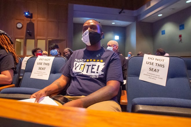 Devon Tre Norman waits for his turn to speak at Lafayette Council Meeting. Tuesday, July 21, 2020.