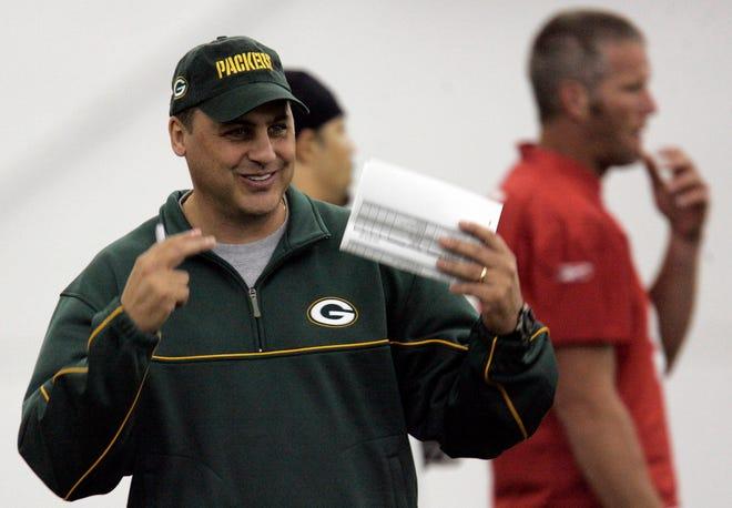 Green Bay Packers offensive coordinator Jeff Jagodzinski watches drills Friday, May 5, 2006.