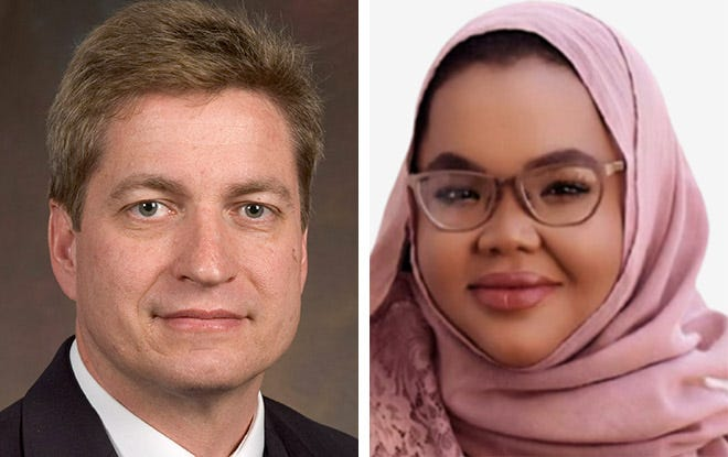 Sen. Tim Carpenter of Milwaukee and Nada Elmikashfi, a candidate for state Senate from Madison.