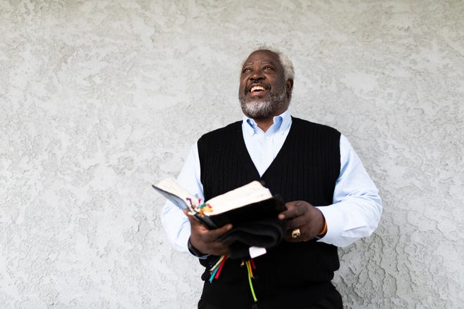 The Rev. Rolland E. Slade prepares to give his 7:30 a.m. sermon on July 19, 2020, at Meridian Baptist Church in El Cajon, Calif.