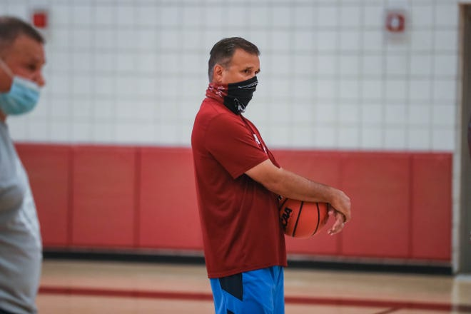 New Mexico State head coach Chris Jans calls out drills at a pre-season practice for the NMSU men's basketball team in Las Cruces on Tuesday, July 21, 2020.