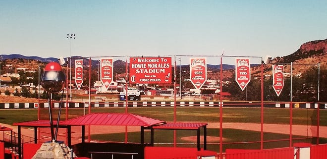 Howie Morales Stadium at Rominger Field in Bayard NM is the home ball park for the Cobre High Indians baseball teams. The bottom-right of the signage has the cartoon mascot of Chief Wahoo.