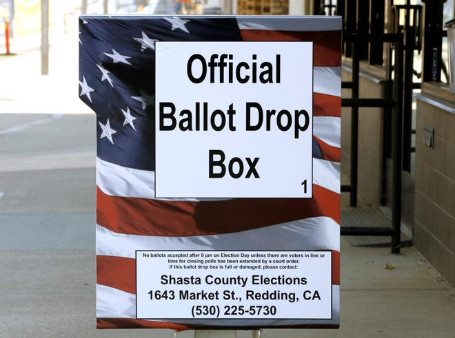 An official ballot drop box outside the Shasta County Elections Department in downtown Redding.