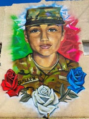 Inx Davila created a mural to honor slain soldier Vanessa Guillen in downtown San Angelo, Texas.