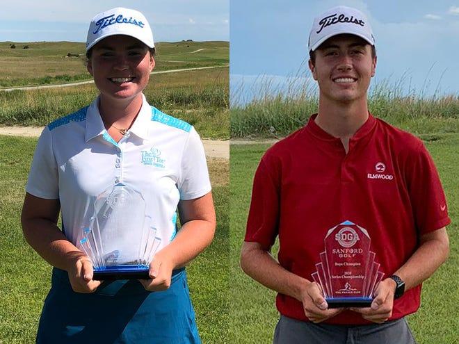 2020 SDGA/Sanford Golf Series Championship winners Shannon McCormick (left) and Jack Lundin.