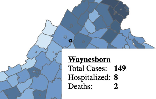 An image from the Virginia Department of Health COVID-19 dashboard for July 21 shows two deaths in Waynesboro.