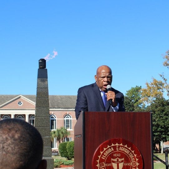 The civil rights legend and U.S. Rep. John Lewis during an appearance on the campus of Florida A&M University.