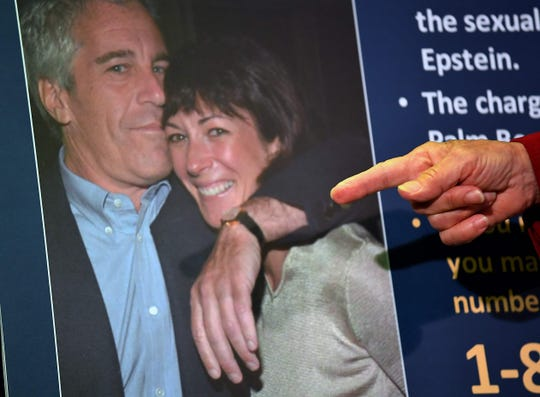 A photo of Ghislaine Maxwell with Jeffrey Epstein as federal authorities announce charges against her during a news conference in New York on July 2, 2020.