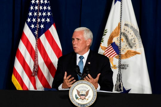 Vice President Mike Pence speaks during a round-table discussion on re-opening schools amid the coronavirus outbreak on Tuesday, July 21, 2020, in Columbia, S.C.
