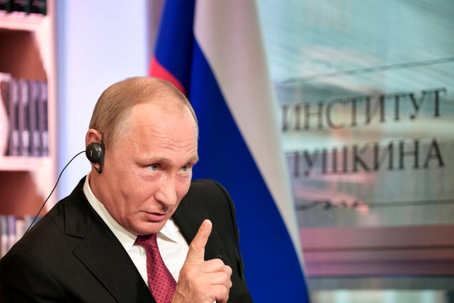 Russian President Vladimir Putin speaks during an interview in Paris, France, on May 29, 2017.