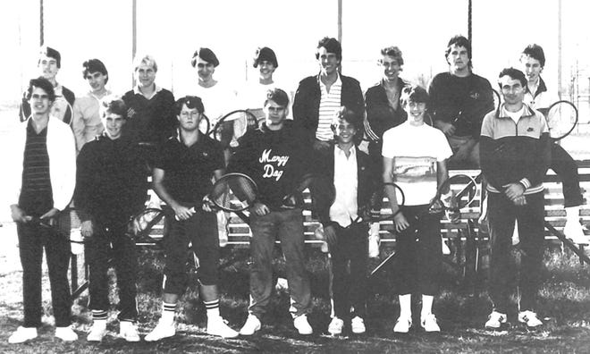 BOYS TEAM - STATE CHAMPS IN 1984: (l-r) TOP ROW: Ardis O'Connor, Gary Coffman, Mike Hinkle, Todd O'Neal, Scott Dale, Patrick Turner, Jeff Waddle, Steve Brooks, & Chris Basham. FRONT ROW: Hector Garcia, Steven Landes, John Winterringer, Thor Henson, Brad Jerome, Mark Sheppard, and Coach Ron Sharp.