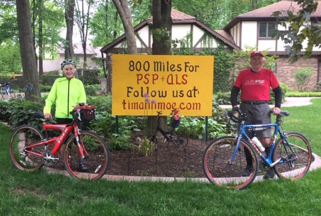 Tim and Ann Moe have walked and biked 800 miles to raise awareness and money for two diseases in honor of two of their friends.