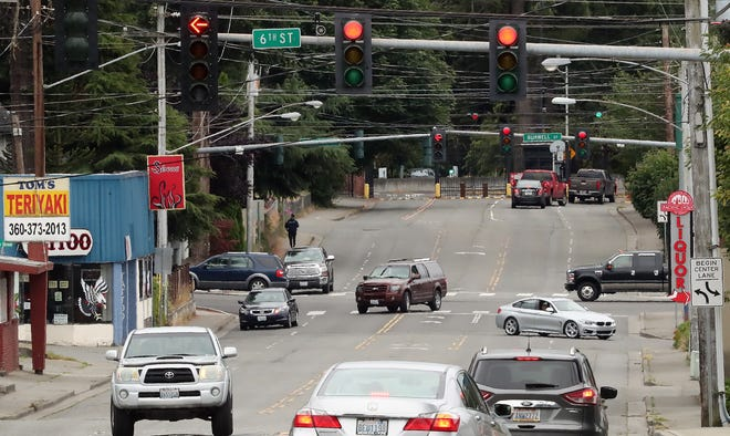 Traffic moves along Naval Avenue in Bremerton on Wednesday, July 22, 2020.