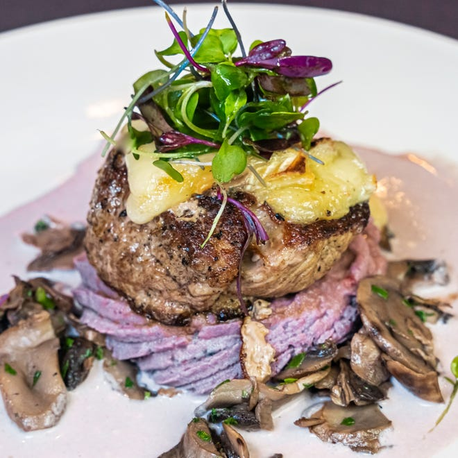 Veal stuffed with camembert and served with a beurre rouge sauce with wild mushrooms over truffle-whipped purple potatoes is one of the six courses paired with France's Chateau de Chambert wines during Café Margaux's Aug. 6 and 7 wine dinners.