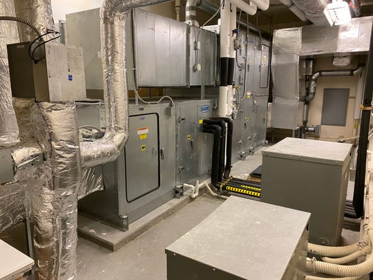 One of several air handler rooms at Williston Central School, seen July 21, 2020. Air quality systems are being upgraded in advance of schools reopening for the fall 2020 semester during the COVID-19 pandemic.
