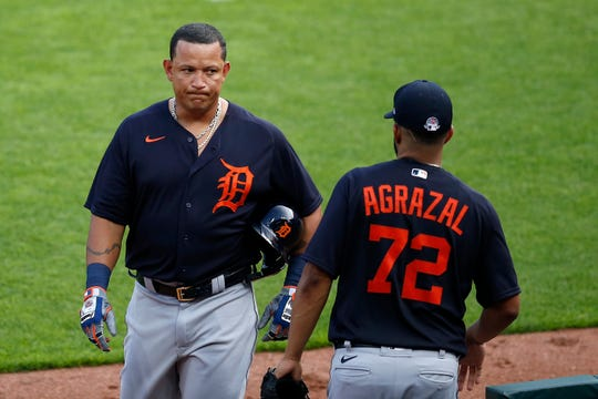 Detroit Tigers first baseman Miguel Cabrera (24) returns to the dugout after the second inning of the MLB Interleague Preseason game between the Cincinnati Reds and the Detroit Tigers at Great American Ball Park in downtown Cincinnati on Tuesday, July 21, 2020.