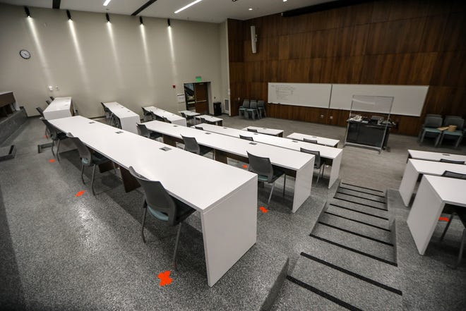 Eastern Michigan University in Ypsilanti, Mich. plans to reopen on August 31st with social distancing in lecture halls that can be seen marked with lime green tape photographed on Wednesday, July 22, 2020.