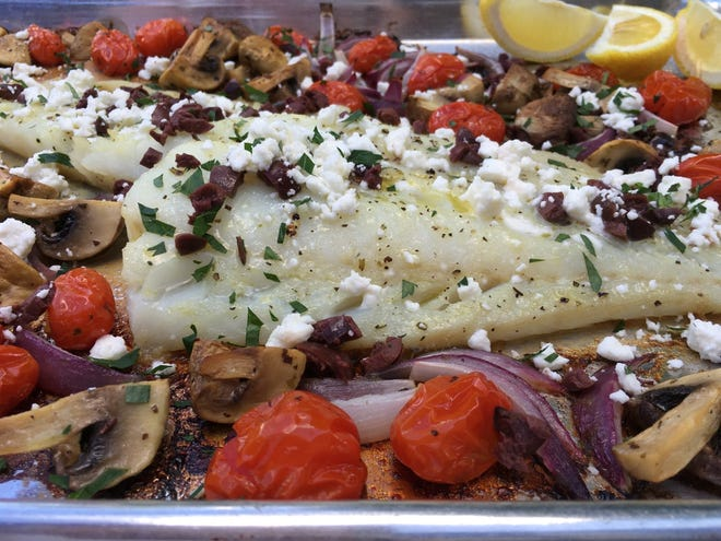 Mediterranean Cod Sheet Pan Dinner