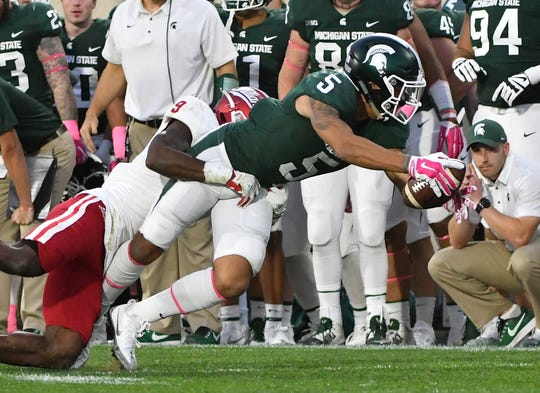 Hunter Rison caught 18 passes for 223 yards as a freshman at Michigan State in 2017.