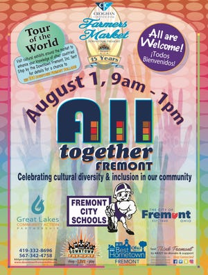 Downtown Fremont, Inc. will host All Together Fremont Aug. 1 in conjunction with the Farmers Market. The event will celebrate cultural diversity and inclusion in the Fremont community.