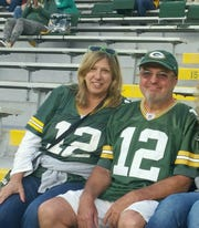 Sandi and Drew Whyte of Pittston, Pa., at Lambeau Field. They are season ticket holders and regular attendees at Packers games.
