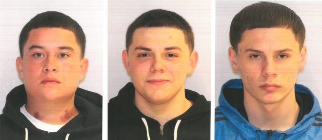 Marion Police are still searching for one of three men allegedly involved in a double shooting on Friday, July 17 at a house on Avondale Ave. Miguel F. Gonzales, 19, Marion (left), is still at large, police said. Andrew J. Cramer, 19, Marion (center), and Zachary A. Harter, 19, Marion (right), were arrested on July 18. They are each due in court on Friday, July 24.