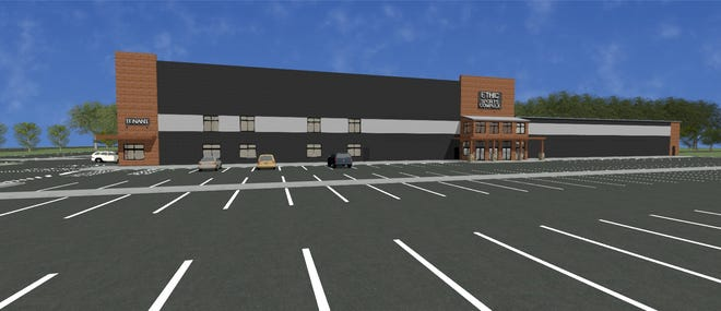This rendering of the proposed Ethic Sports Complex shows the sheer size of the 153,000-square-foot facility that Kahle Builders envisions on the site of the former Prospect Hill School in New Berlin. The New Berlin Plan Commission on July 21 recommended approval of the rezoning of the property along Racine Avenue just north of National Avenue.